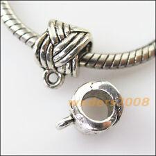 8 New Knot Tibetan Silver Bail Bead Fit Bracelet Chrams Connectors 8x11.5mm