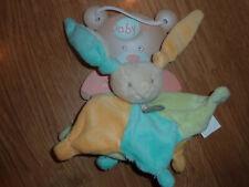 Doudou Peluce Baby'nat Babynat lapin rabbit bunny lièvre étoile jaune bleu vert