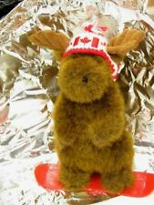 Stuffed Animal House 2008  plush Canadian Moose on Snowboard CANADA FLAG Hat VG