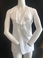 BNWT RALPH LAUREN SPORT  White Ruffle V Neck Sleeveless Top Size L