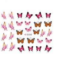 Nail Art Decals Stickers Transfers Spring Summer Butterflies Butterfly (E500)