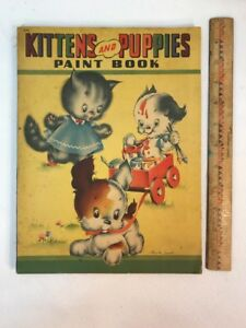 Vtg 1941 Cecil Lamb PUPPIES AND KITTENS Paint Coloring Book ONLY TWO PAGES USED