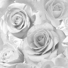 Muriva Madison Glitter Roses Floral Flower Silver Wallpaper 139520 Sale Cheap