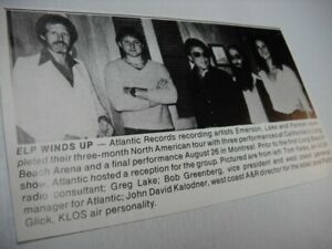 ELP Greg Lake at Long Beach reception during tour 1977 music biz promo pic/text