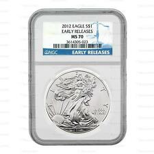 New 2012 American Silver Eagle 1oz Early Releases NGC MS70 Graded Slab Coin