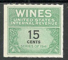 U.S. Revenue Wine stamp scott re127 - 15 cent issue - series of 1941 - mngai