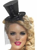 Fever Mini Black Glitter Top Hat with Veil ~ Burlesque Hen Night ~ Fancy Dress
