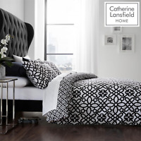 Catherine Lansfield Medina Trellis Duvet Set Bedding Pillowcase Black White Home