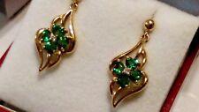 9CT GOLD RUSSIAN GREEN HEART CHROME DIOPSIDE CLUSTER & DIAMOND DROP EARRINGS***