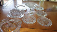 Westmoreland English Hobnail Dessert Plates footed candy dish 8pcs EUC
