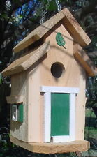 Cedar Bird House - Green Trim