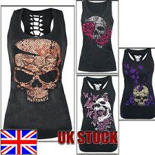 UK Womens Skull print Sleeveless Vest Tank Top ladies Hollow Summer Slim t shirt