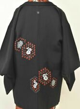 Vintage Japanese Ladies' Black Kimono Haori Eve Jacket 'Red/Ivory Roundels' MED