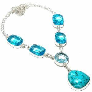 "Tibetan Turquoise, Blue Topaz Gemstone Ethnic 925 Sterling Silver Necklace 18"""