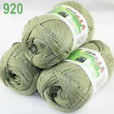 3 balls×50g Super Soft Natural Smooth Bamboo Cotton Yarn Knitting Olive Drab 920