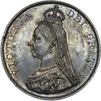 1887 DOUBLE FLORIN - VICTORIA BRITISH SILVER COIN - V NICE