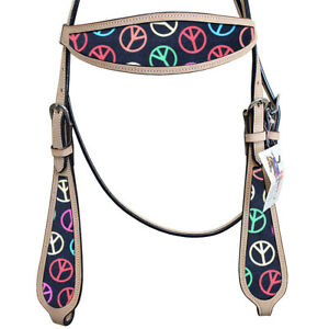 Hilason Western Horse Headstall Bridle American Leather Peace Sign Tan