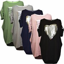 Italian Lagenlook Heart Sequins keyhole back High Low Tunic top dress Plus Size