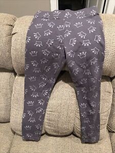Justice Leggings Gray with Silver Crowns Size 12 EUC