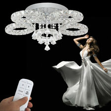 76W LED Kristall Deckenleuchte Kaltweiß Kronleuchter Pendellicht + Fernbedienung