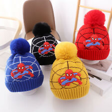 Winter Kids Boys Spiderman Knitted Hat Warm Thick Beanie Pompom Skullies Ski Cap