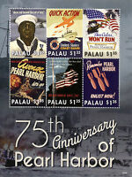 Palau 2016 MNH WWII WW2 Pearl Harbor Attack 75th Anniv 6v M/S War Posters Stamps