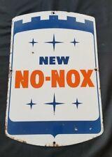 Vintage Gulf New No-Nox Porcelain Sign Gas Pump Plate