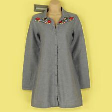 BNWT? VERO MODA EMBROIDERED CHAMBRAY BLUE SHIRT DRESS SIZE SMALL, UK 10