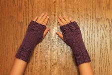 Hand Knit Fingerless Gloves- Wrist Warmers-Texting Gloves-Light Purple