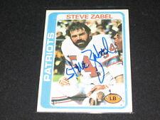 STEVE ZABEL PATRIOTS 1978 LEGEND SIGNED AUTOGRAPHED VINTAGE NFL FOOTBALL CARD