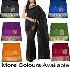 Beautiful Indian Handloom Art Silk Saree Sari Zari Work with Blouse Piece New525