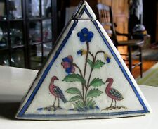 "Antique Persian pottery. Pyramid shaped box with flowers and birds.5 3/4"" h"