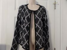 Women's Sweater Jacket by Faded Glory, Size L (12/14), Black/White, NWT