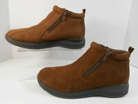 Dr Scholls Womens Ankle Boots Sz 6.5 M Leather Zip Sides Bicycle Toes Brown  #B