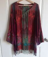 Soft Surroundings Womens Madagascar Embroidered Fringed Tunic Top Size Medium