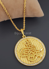 Osmanli Tugra Gold Münze Kette 22 Karat GP Altin Kaplama Cumhuriyet Kolye Ceyrek