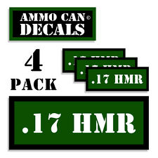 "17 HMR Ammo Can 4x Labels for Ammunition Case 3"" x 1.15"" sticker decal 4 pack GR"