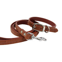 Rustic Brown Ostrich Dog Collar and Leash Combo Matching Set Small-Medium