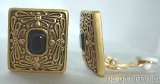 Antiqued Gold Faux Onyx Clip On Earrrings