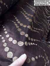 SALE: 1 M DARK WARM BROWN EMBROIDERED SILK FABRIC. GOLD CIRCLE PATTERN. CURTAIN