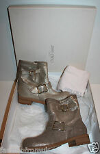 £595 JIMMY CHOO YOUTH GOLD LEATHER BIKER BOOTS 36.5
