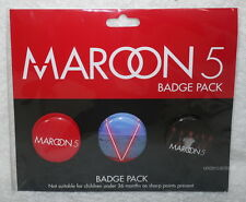 Maroon 5 V 2014 Taiwan Promo 3 BADGES PIN (buttons) +flyer