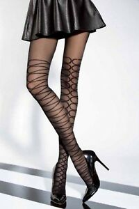 """40 DEN PATTERNED TIGHTS WITH ELASTANE """"APOLLINA"""" graphite (grey)"""