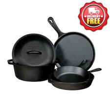 Lodge 5 pcs Cast Iron Set | Griddle + Skillet + Dutch Oven + Cover | Made in USA