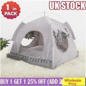 Pets Dog Cat Nest Tent House Kennel Puppy Cushion Warm Soft Sleeping Cave Beds