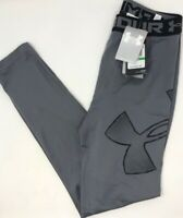 Under Armour Boys Activewear Leggings Gray Logo Elastic Waist XL New
