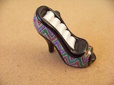 small black high heel shoe 4 ring holder decorative table top novelty