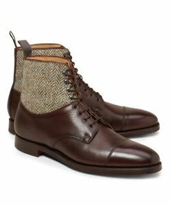 Mens Handmade Tweed Boots Fabric Brown Leather Formal Dress Casual Lace Up Shoes
