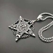 Men's Skull Necklace Pentacle Moon Star Masonic Magic Stainless Steel Pentagram