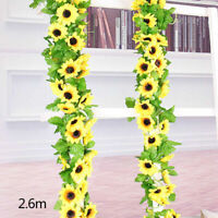 Fake Silk Sunflower Ivy Vine Artificial Flowers With Green Leaves Hanging